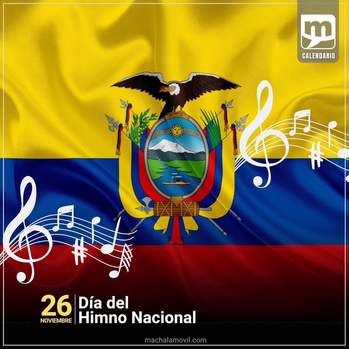 Este 26 de noviembre celebramos el Día del Himno Nacional de Ecuador. Nuestro noble y glorioso símbolo patrio nació de la mente y talento del poeta Juan León Mera y el músico Antonio Neumane.   #DíaDelHimnoNacional https://t.co/CnFsY7FZcv