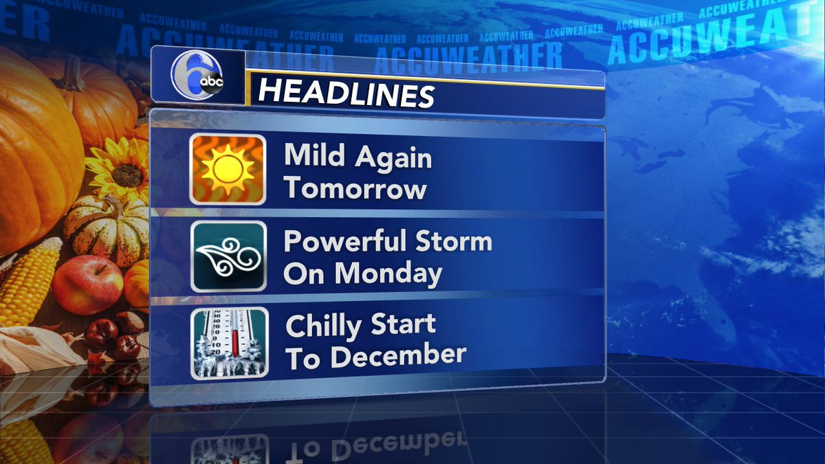 HOLIDAY HEADLINES The 60s from today will continue into tomorrow, but big changes are on the way with Monday's storm.  Right on cue temperatures will be crashing into the 40s as we start December on Tuesday.