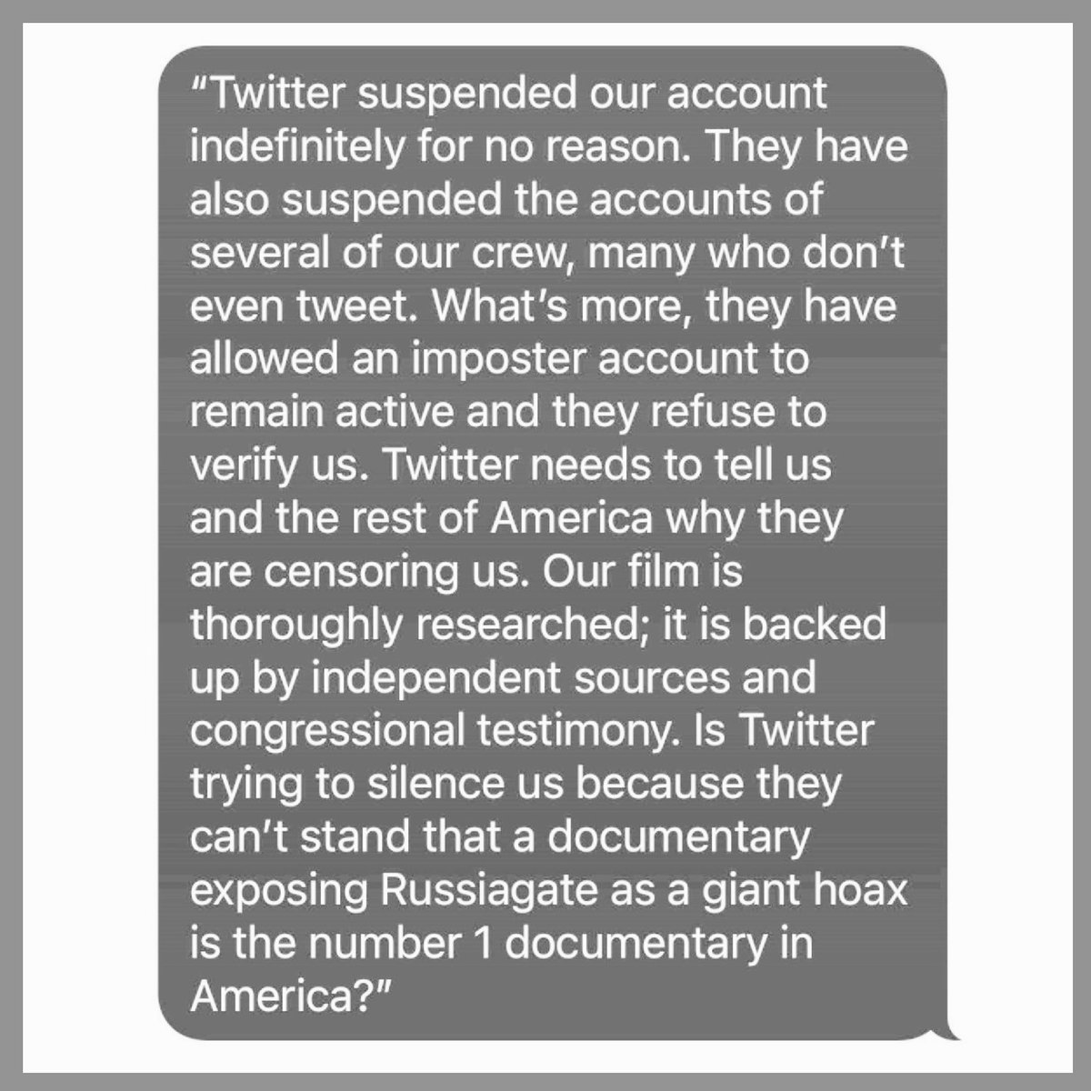 .@Twitter has suspended The Plot Against The President account, here is statement from producers. #ObamaGateAintGoingAway https://t.co/XCt98FubaJ