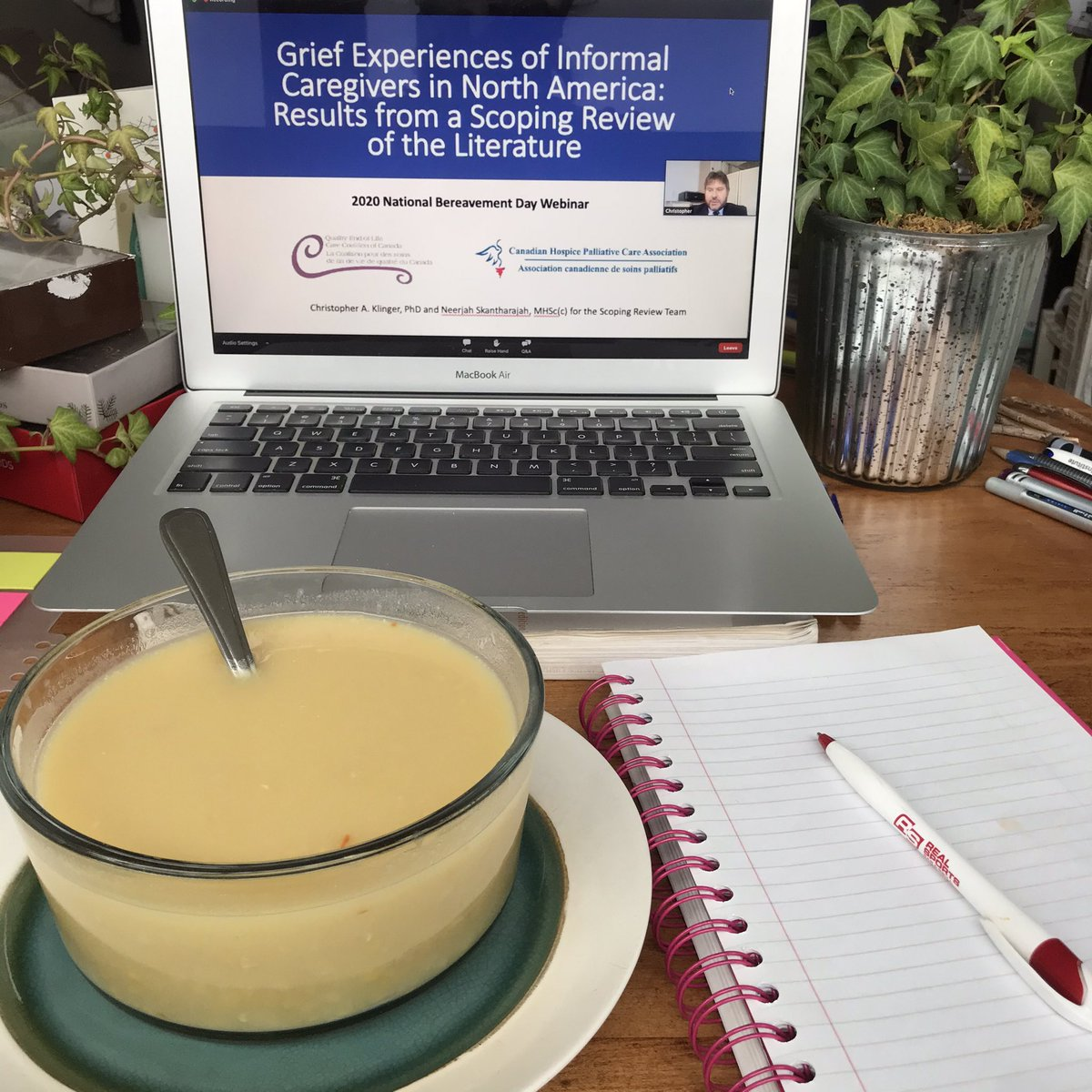 Today is #NationalDayOfMourning   Having pea soup for lunch whilst listening to today's presentation  Grief Experiences of Informed Caregivers in North America Results from a scoping review  QELCCC's Blueprint for Action:   #caregivers #grief #bereavement