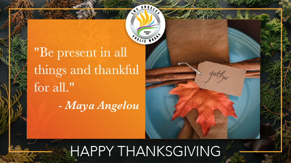 We wish you a #HappyThanksgiving 🦃knowing that this year's celebrations are not what we had all hoped for. Enjoy the day with food 🥧🍗and virtual company! 👳👴For a list of safe online events, go to  #SaferLA #LAStrong #Gratitude #GiveThanks