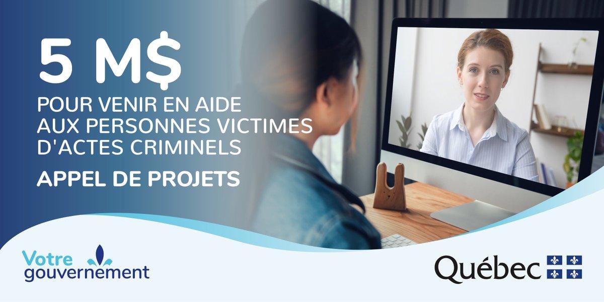 COMMUNIQUÉ   M. Simon Jolin-Barrette annonce le lancement de l'appel de projets extraordinaire de cinq millions de dollars destiné aux personnes et aux organismes qui interviennent auprès des personnes victimes d'actes criminels. #JusticeQc https://t.co/3Ttn4rIlpx https://t.co/I2rGilUqd9