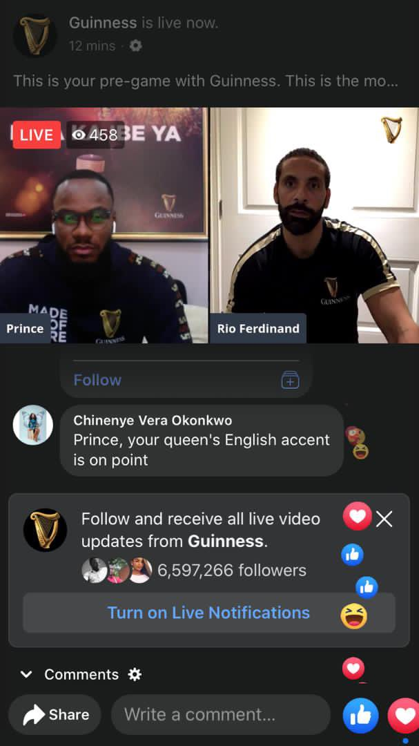 It's live guys !!  Join the live chat here   Drop your predictions and win something   Hurry 😉 #RioXPrinceOfGuinness  #EverythingIsPossible