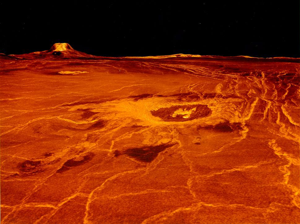 Atmospheric pressure on Venus is the equivalent of a grizzly bear dancing on a postage stamp.