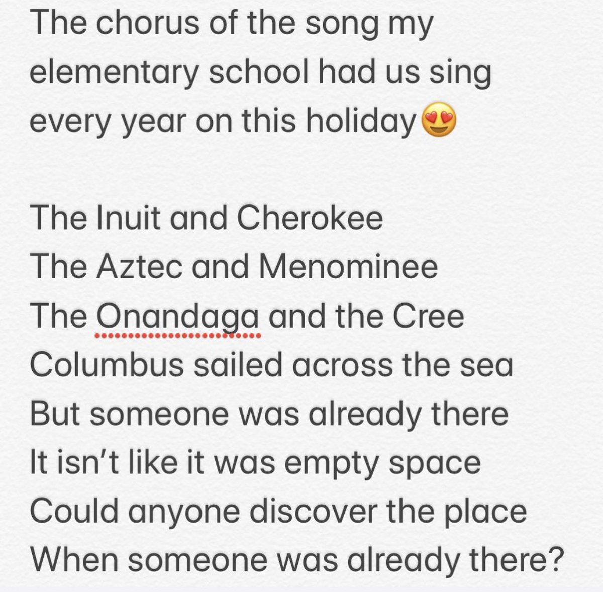 Shout out to elementary school music teachers, especially Mrs Evans who had us sing this song every Columbus Day and Thanksgiving.