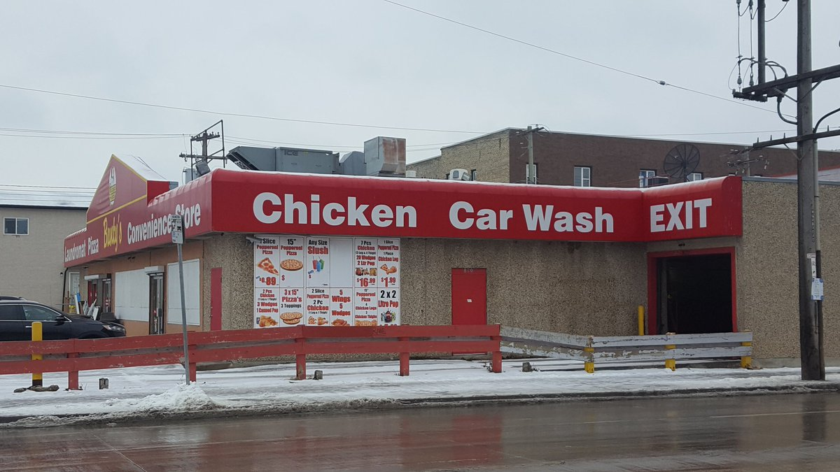 In honor of our dearly departed Chicken Car Wash, put two other businesses together that dont really make sense. Ice cream parlor/gravel quarry? Pet food store/crematorium? Nuts and gum? - Jay