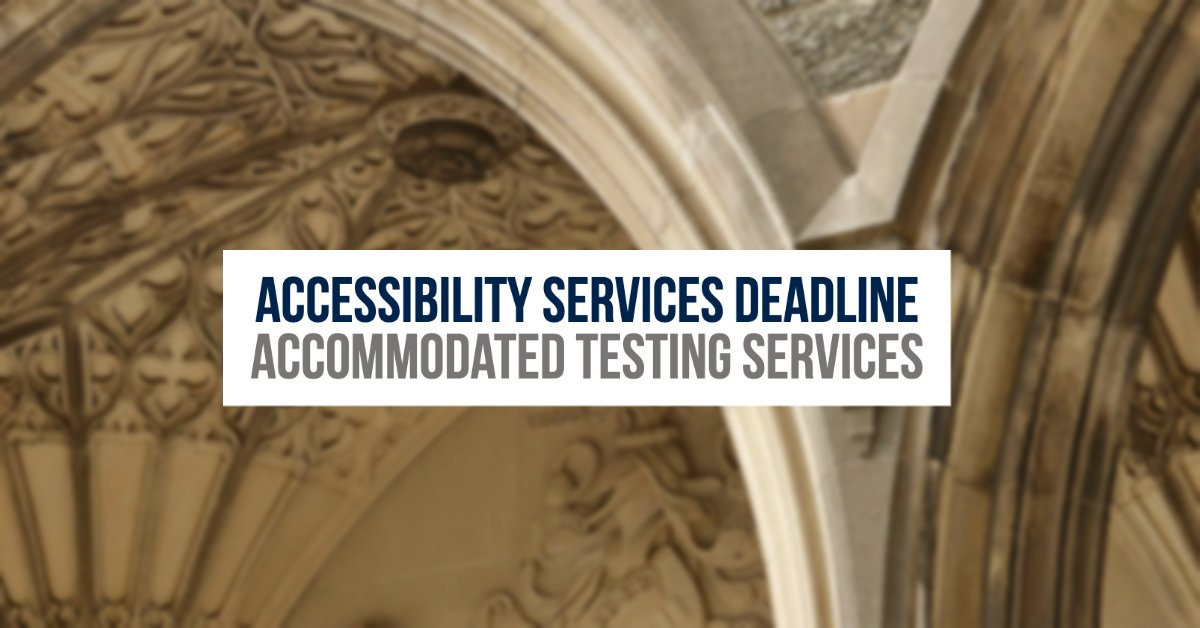 Registered with Accessibility Services for test/finals accommodations? Remember to register at least 14 days before your test date. If you miss the deadline, accommodations can't be guaranteed. Details & registration here:  #UofT