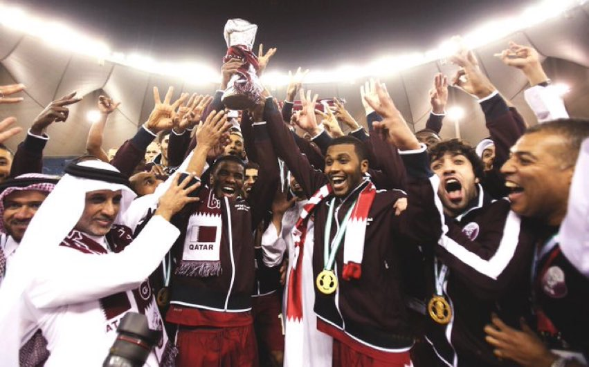 📅 #OnThisDay in 2014, our 🇶🇦 national team won #GulfCup22 🏆   What is your favourite memory from the final? 🤩  #QFA #Qatar