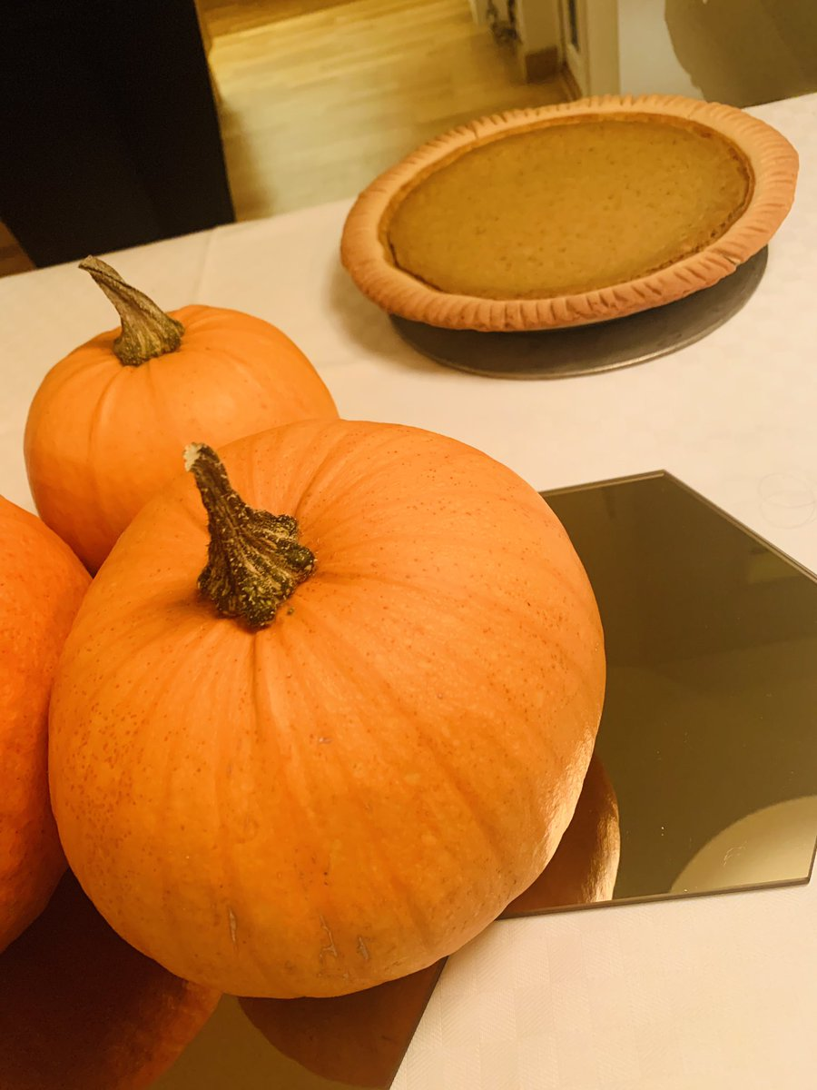 My mom's home-made pumpkin pie, from her home-grown pumpkins. Happy Thanksgiving 🇺🇸 (yes, my family's American)