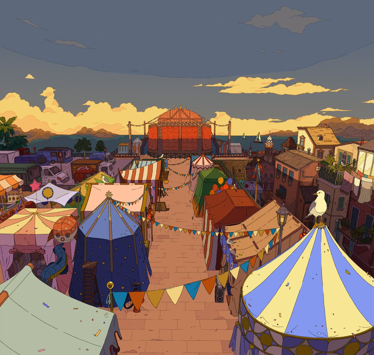 Some of the backgrounds I did for Sundown ! A few shots in the festival tents 🎪