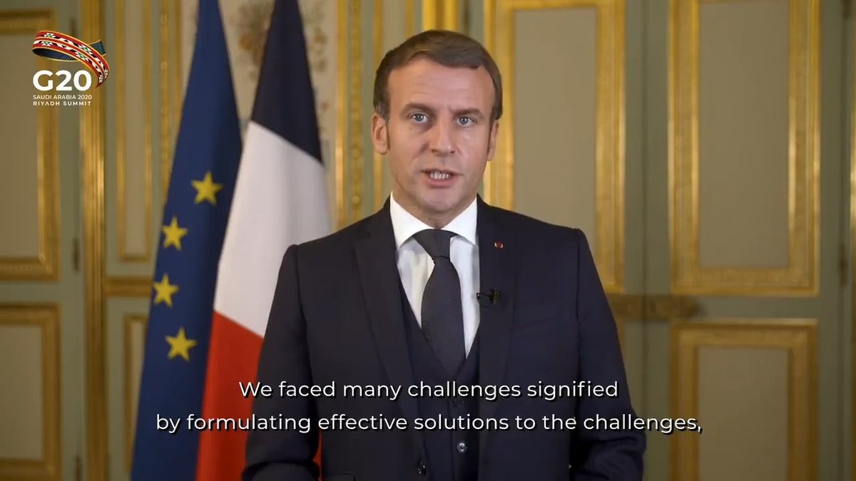 President of France, Emmanuel Macron, participated in the #G20RiyadhSummit Side event on Pandemic Preparedness and Response on November 21, 2020.   Watch the full event at