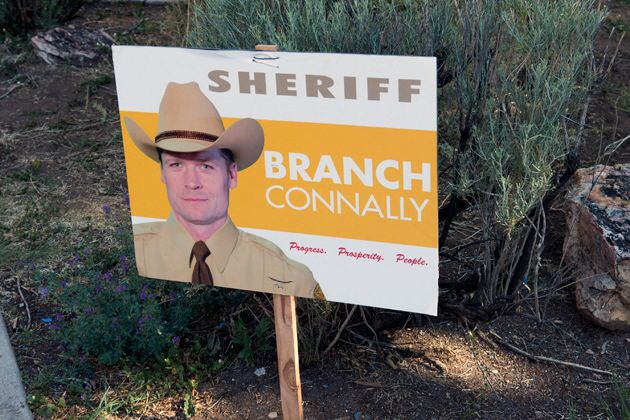 "I have a lot to be thankful for but one of my regrets is that I wasn't able to convince my LONGMIRE bosses to have Branch Connally continually bring up Absaroka County's incredibly high murder rate during his campaign for sheriff.   ""Sheriff Branch Connally: fewer murders."""