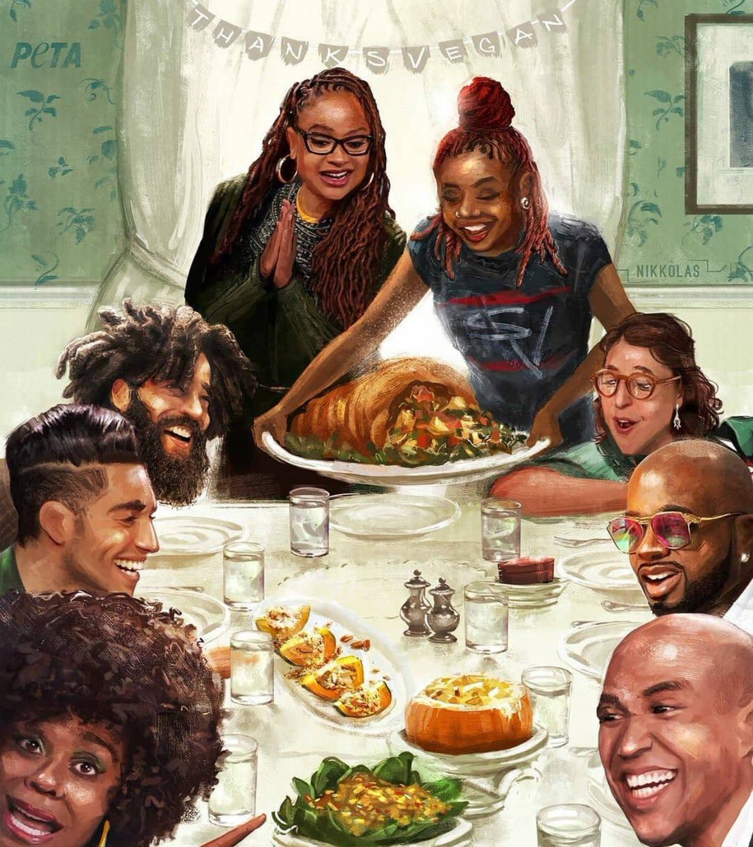 We have a Thanksgiving entry!!  I think this is a vegan theme, but this is still the most random ass group of people...  You don't know more vegan ppl than to put JD, Ava and Cory Booker together? Who is the white lady? And is that supposed to be J Cole?   And what on the plate?