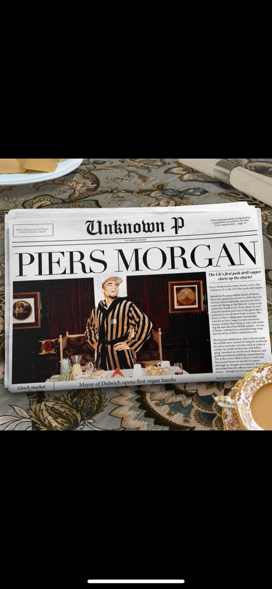 Unknown P drops his debut single - Piers Morgan 🧐🍪 Out now everywhere:   Thank you to @Rymez on production and 'Friend' on the music vid!  (Full vid here: )  Now, someone - pass me a Bourbon! @piersmorgan 🍪