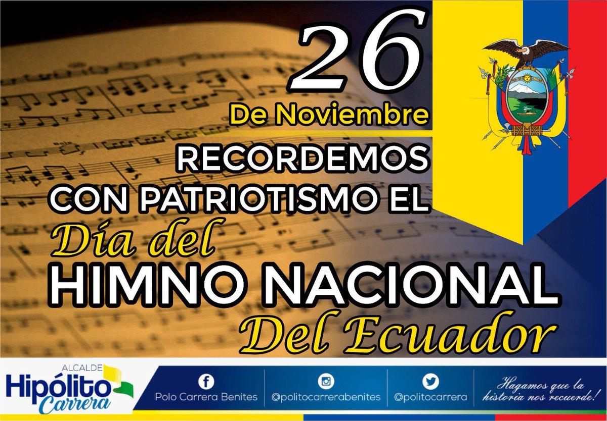 Hoy 26 de noviembre conmemoramos el Día del Himno Nacional del #Ecuador 🇪🇨   Símbolo patrio que nació de la creación del talento del poeta Juan León Mera y el músico Antonio Neumane.  #DíaDelHimnoNacional 🇪🇨 https://t.co/LLH8a6wOSi