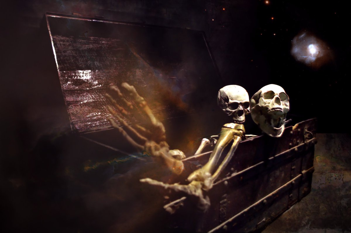 Opening Pandora's Box (The Skull Dancers)   Grey Cross Studios #art #digitalart #contemporaryArt #skulls #skeletons #death #afterlife #surrealism #alternateuniverse #otherworlds #multiverse #parallelworld #scifi #fantasy #fantasyart
