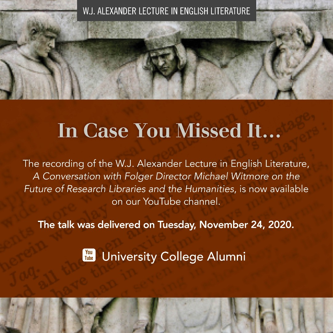 In case you missed it, the W.J. Alexander Lecture in English Literature is now available on our University College Alumni YouTube channel.   To watch, visit:   #UCalumniUofT #UofT #UofTalumni #WJAlexanderLecture