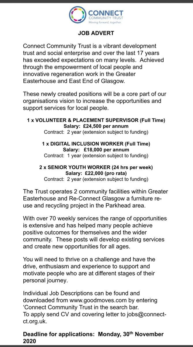 Please RT.  @mandy1_morgan @RuairiKelly_ @CllrBallantyne @CllrBurke @ProvanhallHA @RuchazieP @FARE_Scotland @YoMoGlasgow @CranhillDT @EmploySEN @Eddie47683002 @connectkatie @CLDGlasgowClyde @ConnectLeeanne @gardeenh @ProvanhallHA @goodmovesjobs @BlairtummockHA @SENScot https://t.co/BCy4I0t0Jg