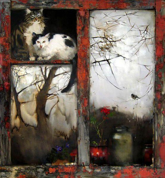 'Cats in a Window' by contemporary Ukrainian painter Maria Chepeleva #womensart
