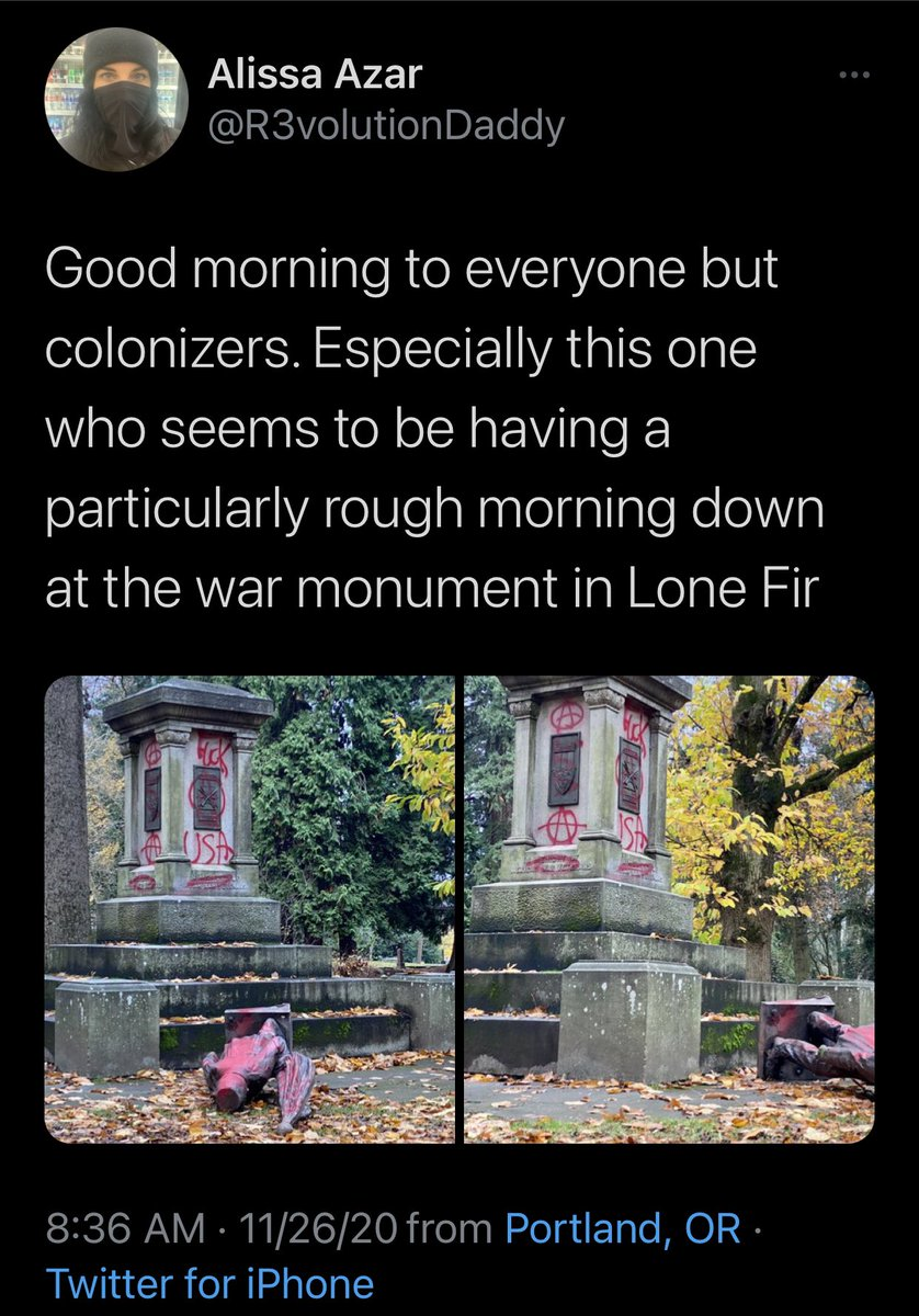 """Portland independent journalist"" documents the memorial to veterans that was toppled in a cemetery overnight in Portland by antifa. https://t.co/woDJGnUdml"