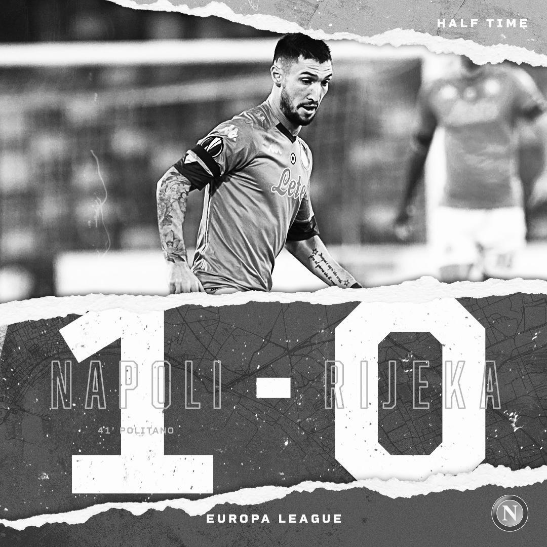 ⏱ 45+1   Half time  #NapoliRijeka 1-0  💙 #ForzaNapoliSempre