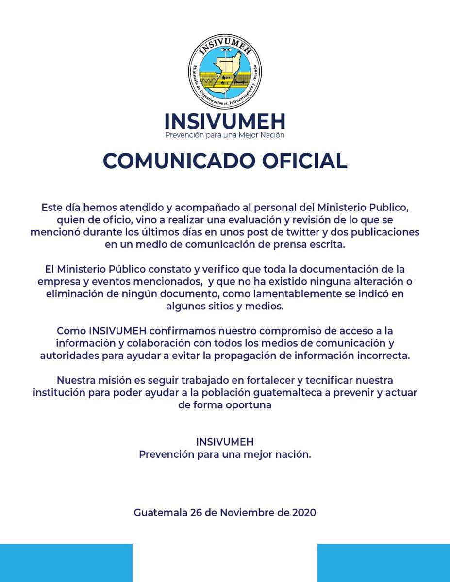 test Twitter Media - Comunicado del Insivumeh sobre diligencias de inspección y documentación realizadas esta mañana por el MP. https://t.co/MbjnX63ZR9