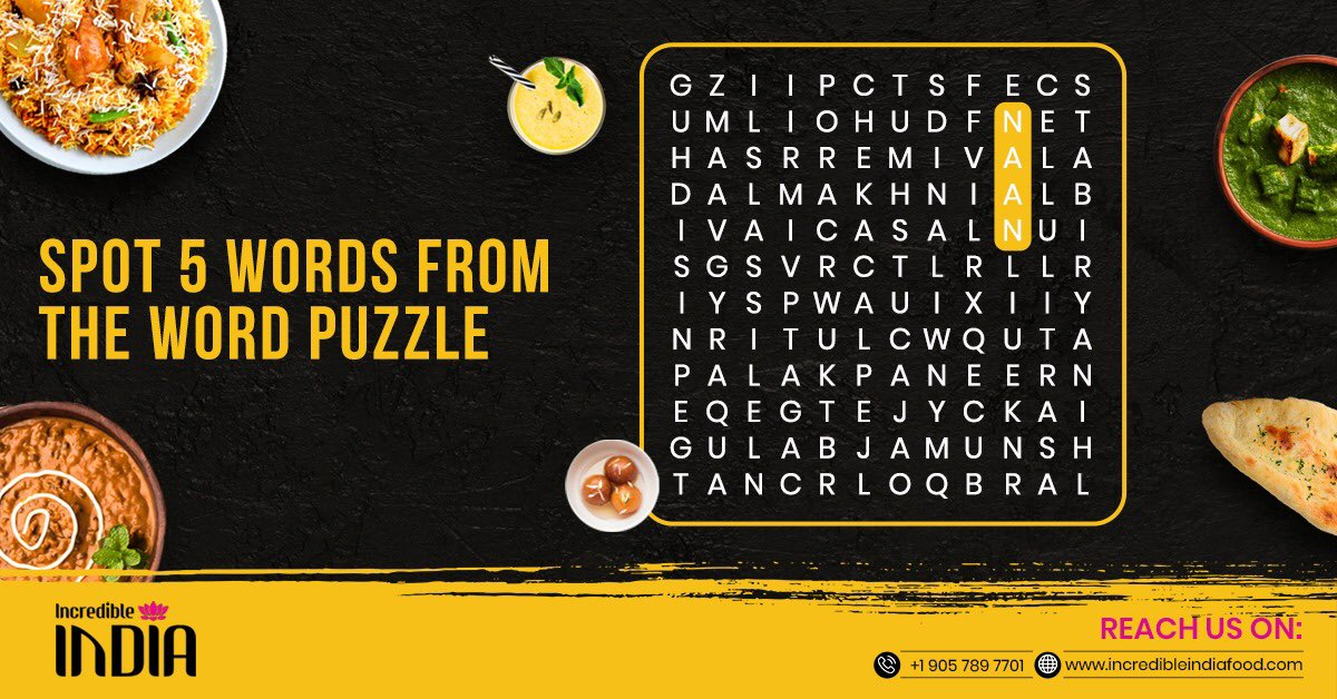 """Only foodies will be able to answer!  Lets see how many of you are extremely foodie and win the title of """"Indian Food Lover"""". Mention the 5 hidden food name in the comment section as soon as you can. 😄  #IncredibleIndia #Quiz #QuizTime #Contest #foodlover #Restaurants #Brampton https://t.co/If4c2v96lS"""