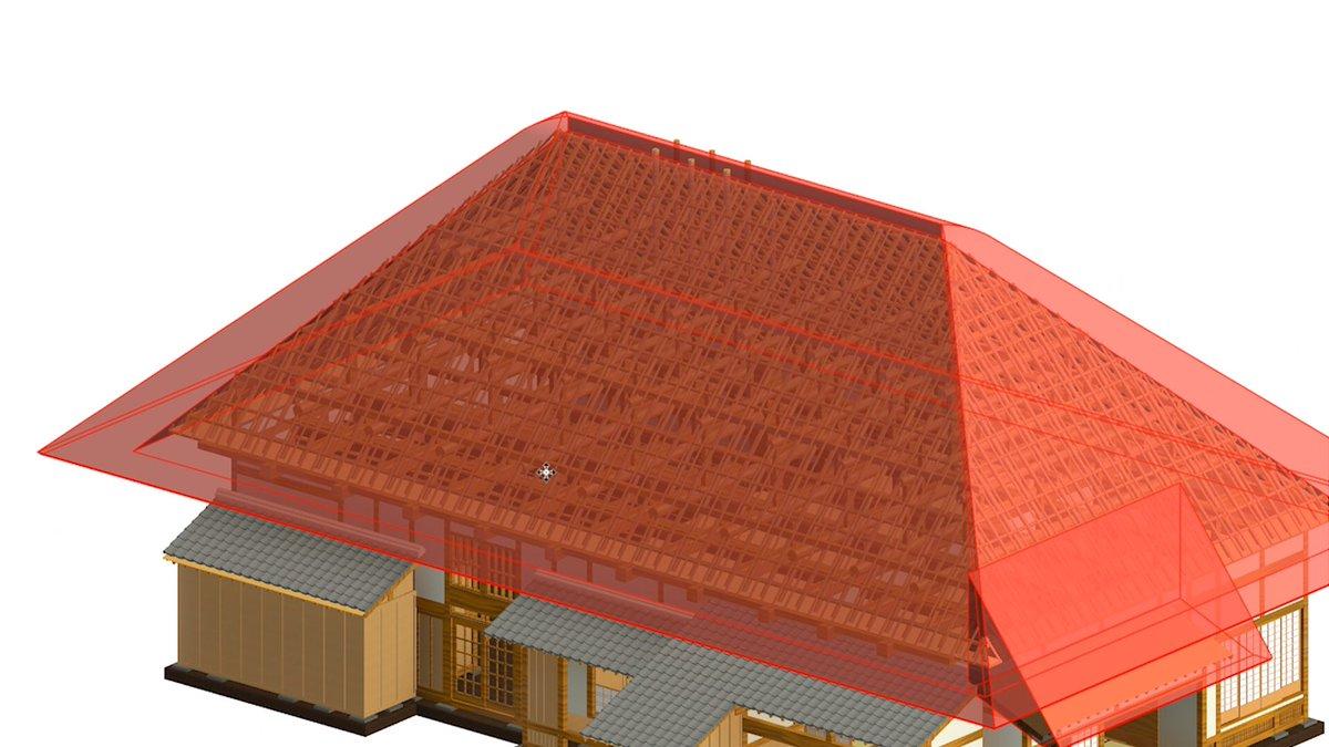 【重要文化財復元にチャレンジ】  ・茅葺き屋根はインプレイスのスイープでなんとか作成しました ・のし瓦、冠瓦は押し出しで作成 ・棟押さえの下地は梁ファミリ、天井ファミリ(勾配付き)で作成しました  #bim #revit #旧吉田家住宅 #重要文化財 #築167年 https://t.co/uUDSwhUT08