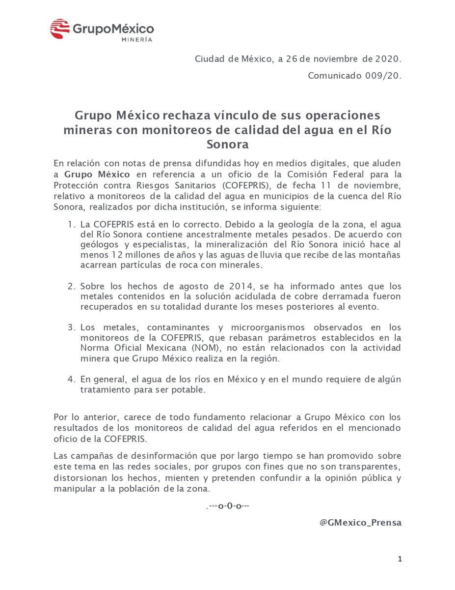 Sin fundamento vincular las operaciones mineras de @GMexico_oficial en Sonora con resultados de monitoreos de agua de @COFEPRIS. https://t.co/JBxJdx5NQ2