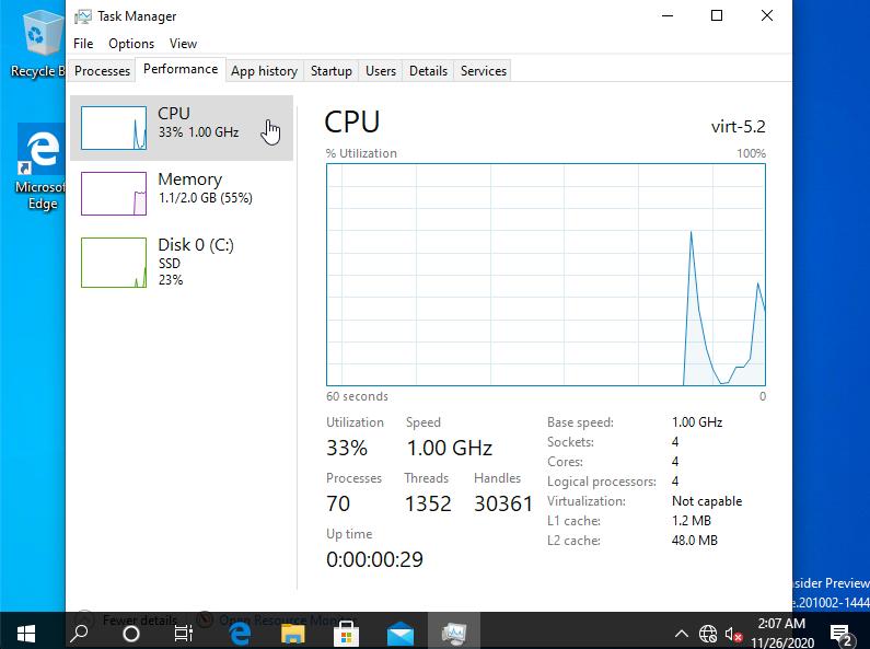 ภาพหน้าจอ Windows ARM64 บน Apple Silicon