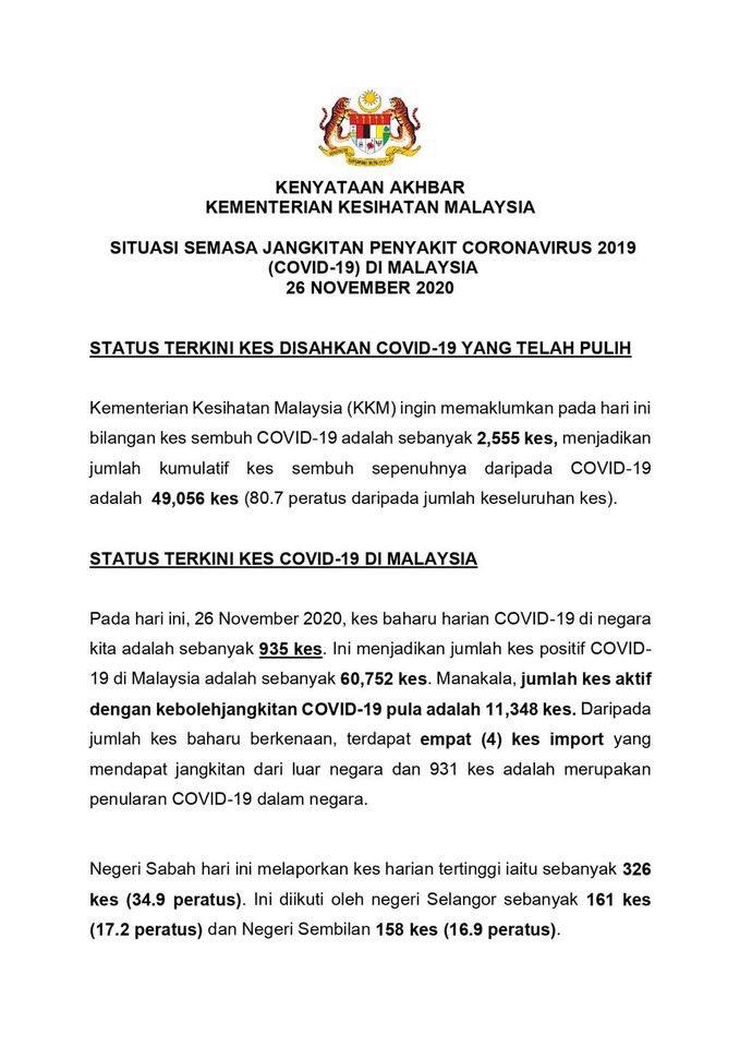 #ICYMI Kenyataan Akhbar KKM Situasi Semasa Jangkitan COVID-19 di Malaysia | 26 Nov 2020  1/3