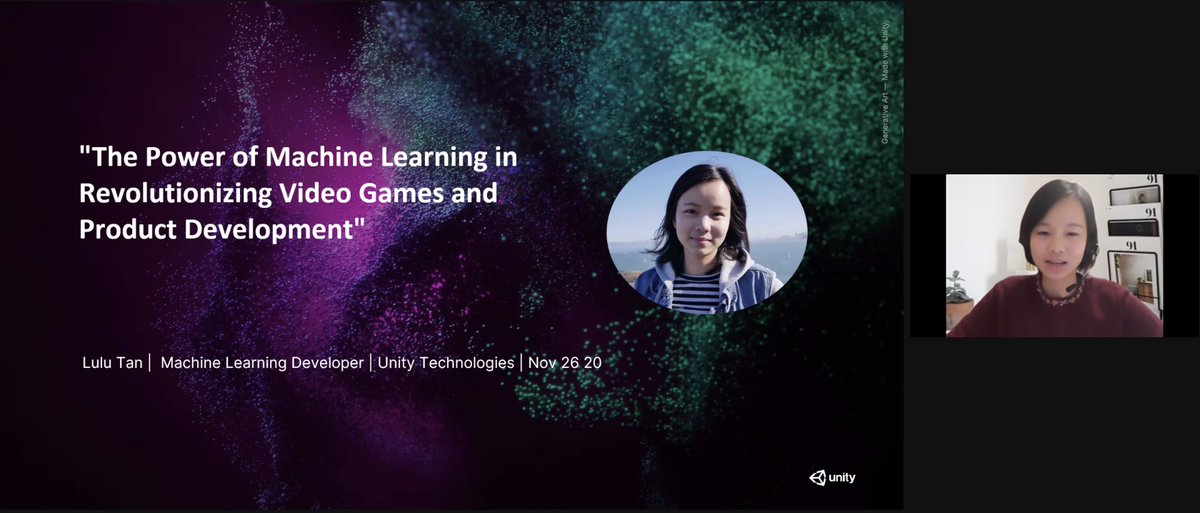 🕹️ @lulutan_lt is presenting how ML is revolutionizing the Video Game Industry!    #womenintech #MachineLearning #WiMLDS