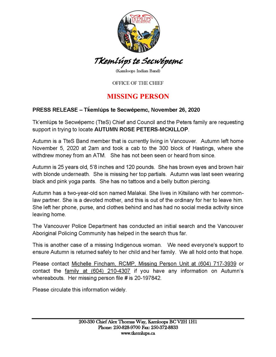MISSING PERSON : Tk'emlúps te Secwépemc (TteS) Chief and Council and the Peters family are requesting support in trying to locate AUTUMN ROSE PETERS-MCKILLOP https://t.co/VWW62IxiL7