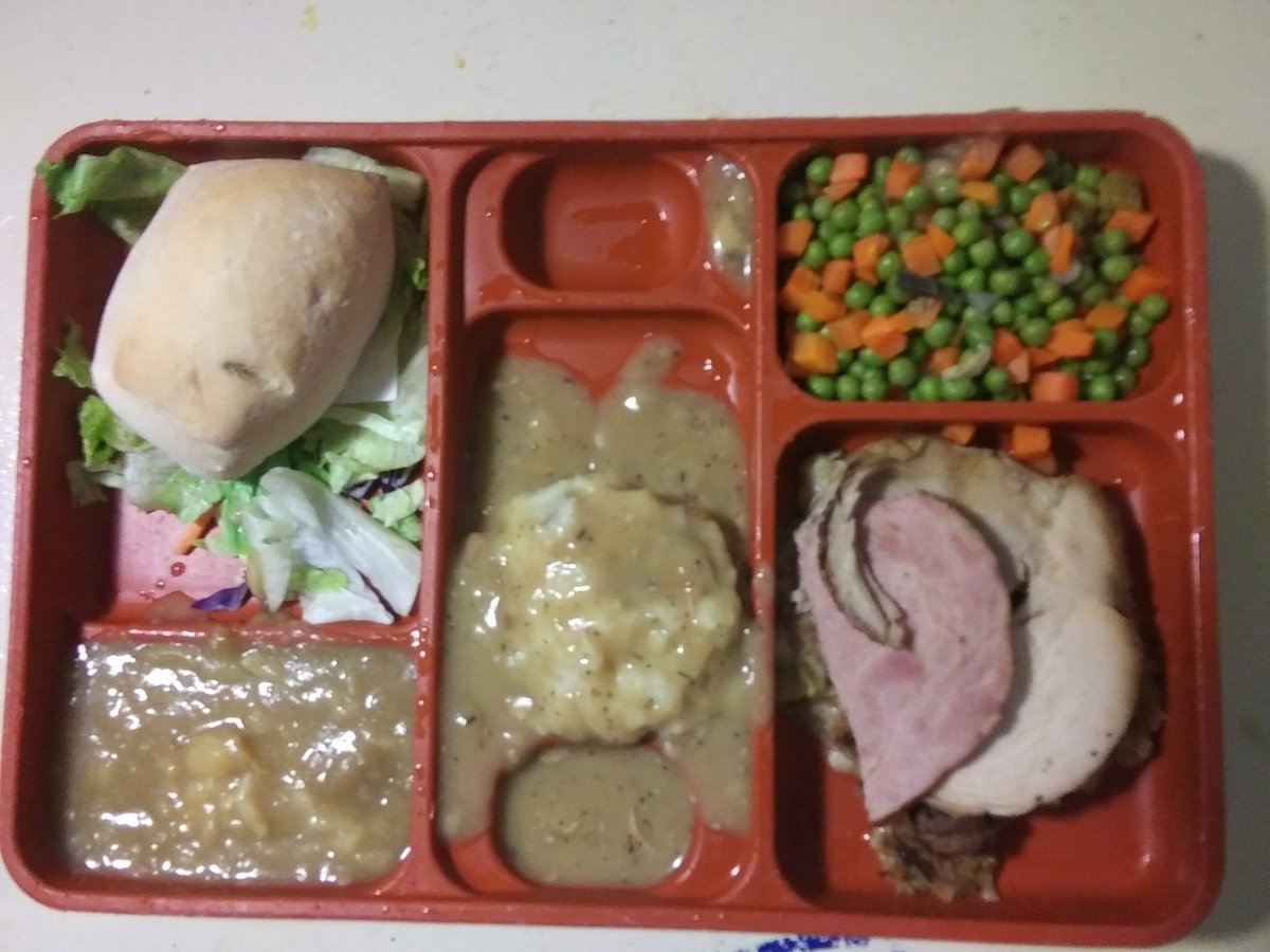 This is the Thanksgiving meal they served us at this prison. And this is actually the best thanksgiving meal they served in 10 years. So Happy Decolonize Your Mind Day.