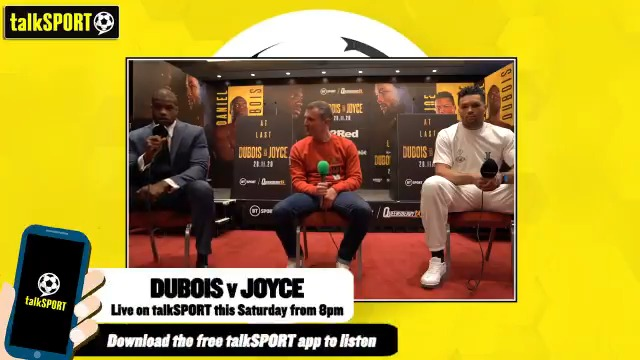 """💥 @DynamiteDubois: """"I'm ready for war.""""  😡 @JoeJoyceBoxing: """"It's personal. I'll take out the frustration on his face.""""  @AdamCatterall speaks to both the fighters ahead of #DuboisJoyce tonight.  Who will win this one? 🤔"""