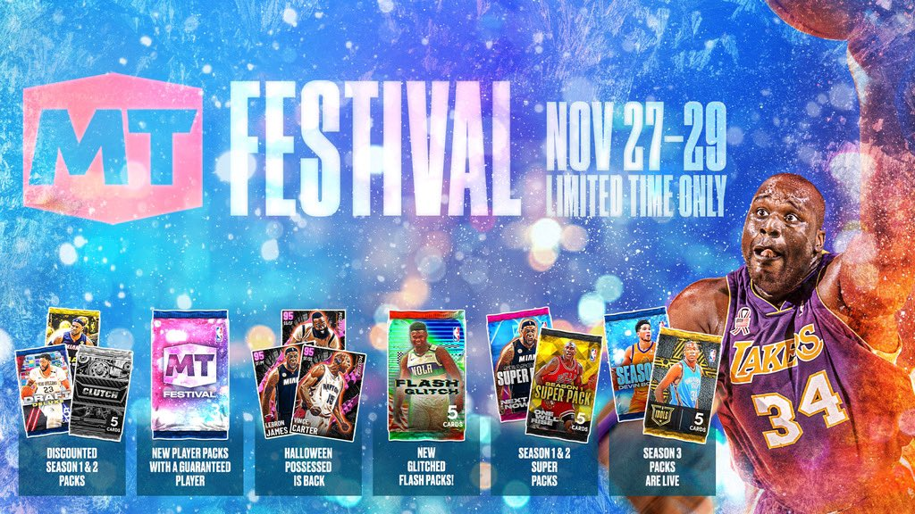 The MyTEAM Festival is starting soon ‼️ You have until Sunday 11:59pm PT to pick up these limited time MyTEAM offers:  🔹 Token Blitz 🔹 Special Packs 🔹 Super Packs 🔹 Discounts 🔹 Season 1 & 2 Spotlight Challenges 🔹 10 Limited Player Packs w/ a Guaranteed Featured Player https://t.co/2kIwppS7Mk
