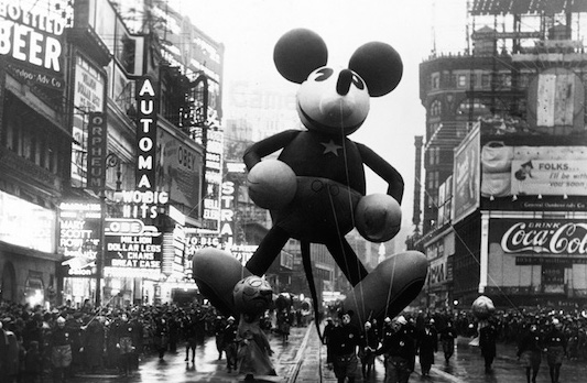 In 1934, at the tender age of six, Mickey Mouse made his debut appearance at the Macy's Thanksgiving Day Parade, the first of many Disney balloons to 'march' in the parade. #MacysDayParade #ThanksgivingNYC #Balloons