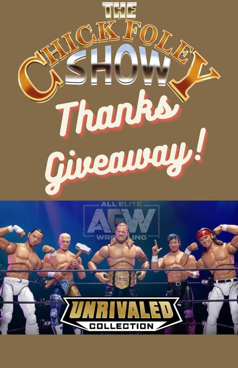 🚨#GiveawayAlert🚨  We're giving thanks by giving away all 4 members of the Elite in @AewUnrivaled Series 1!  All you have to do is:  -Follow @ChickFoleyShow  -Like and Retweet -Let us know what you're thankful for in the comments!  Winner will be announced on next weeks show!
