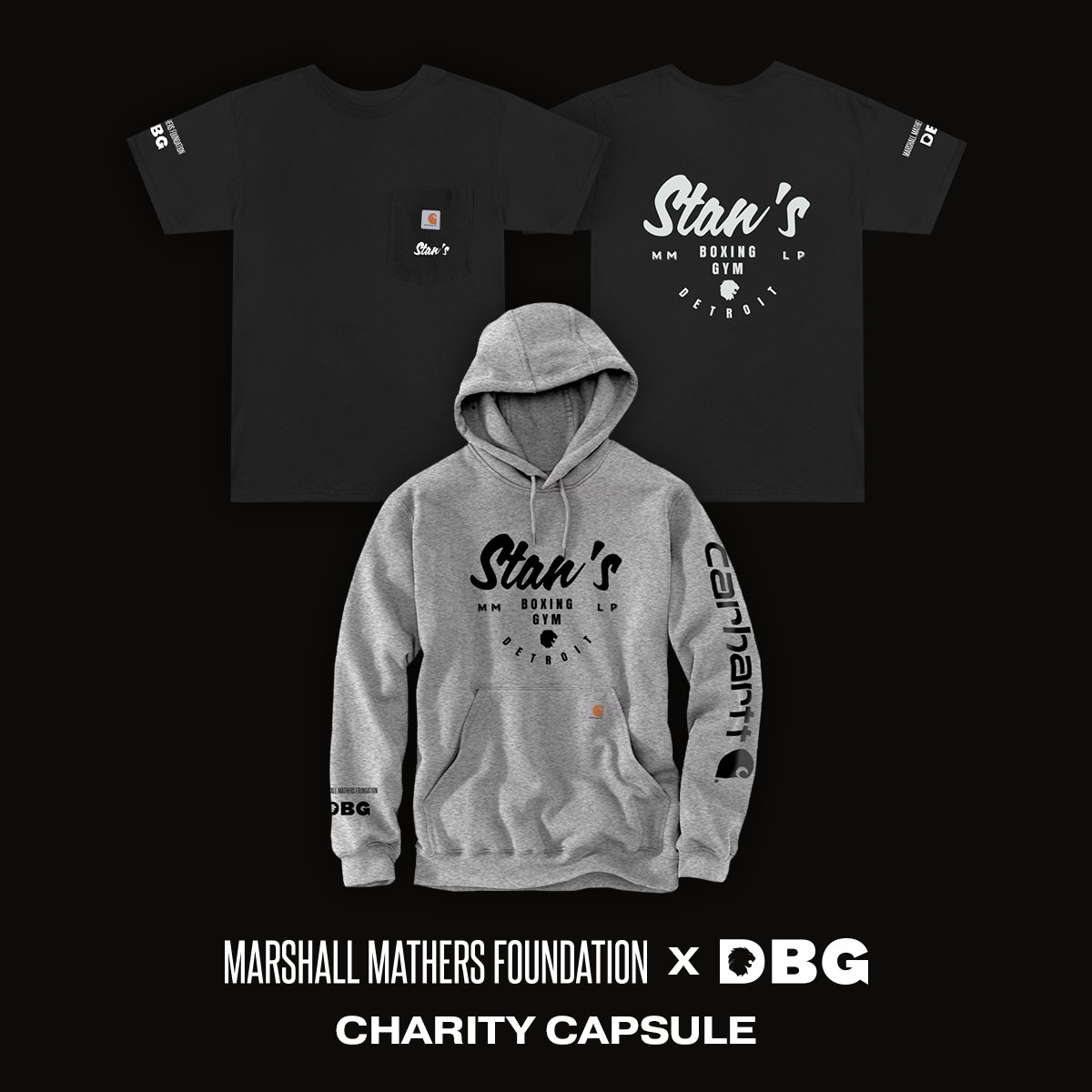 .@DBGDetroit needs your support to continue to help knockout COVID in Detroit- the MMF x DBG #Stan #MMLP20 collab on @Carhartt gear to raise funds is available for Black Friday starting now!