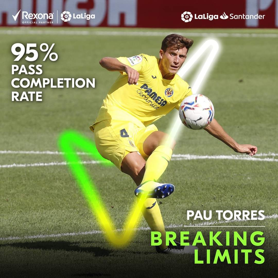 Precision at its finest! 🎯✨  Villarreal CF star, Pau Torres achieved an astounding 95% pass completion rate in the Villarreal vs Real Madrid game!  #BreakingLimits #MoveYourWay #Rexona https://t.co/8tRsivOgLj