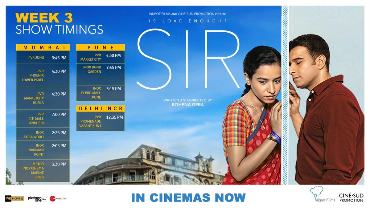 Into WEEK 3 in cinemas, with a lot of love, zeal and passion! ⁣Watch #SirTheFilm on the big screen, a film that everyone is raving about.⁣ ⁣ Book Tickets:  #SIRinCinemas⁣  @RohenaGera @TillotamaShome @getkul  @BricePoisson @ShiladityaBora @PicturesPVR