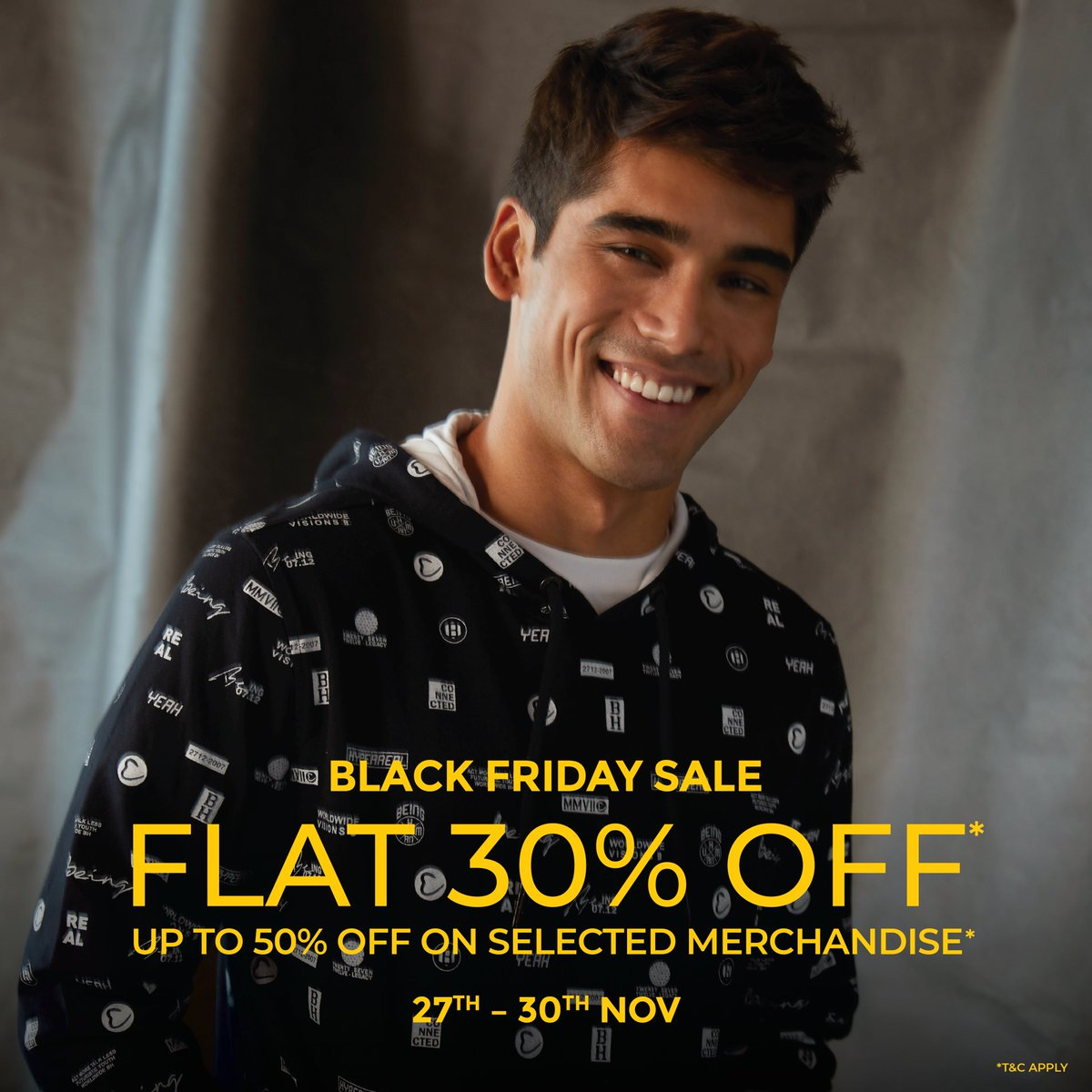 Black Friday Weekend Sale begins today🖤  Here's your chance to enjoy FLAT 30% off & up to 50% on selected merchandise🎉  #beinghumanclothing #lovecareshare