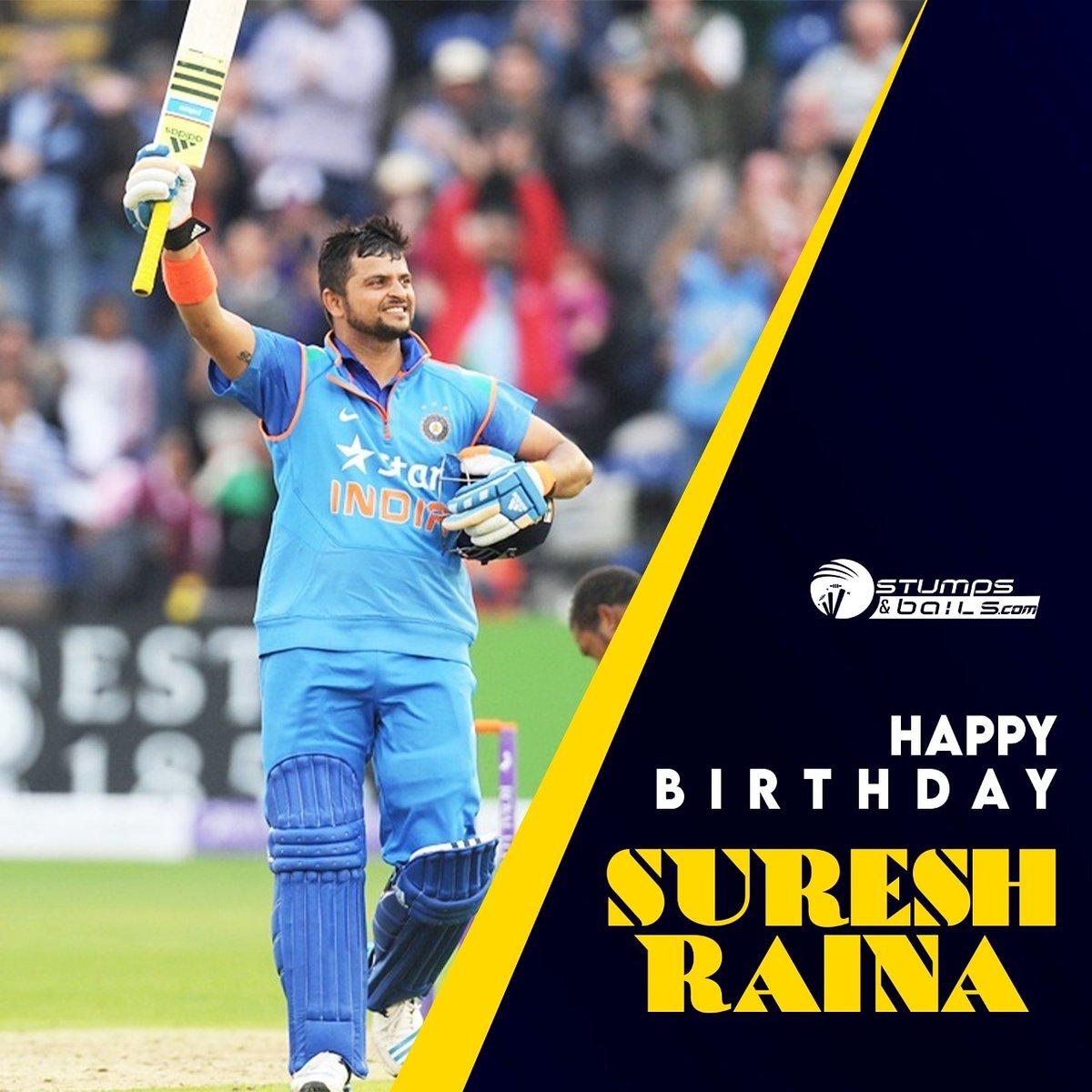 Happy Birthday #SureshRaina  Follow us @stumpnbails #SureshRaina #HappyBirthdaySureshRaina #Indiancricketer #cricketerbirthday
