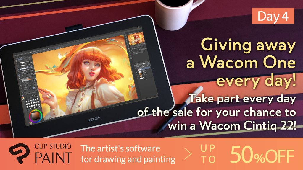 Day 4! 3 chances left to win! Retweet this tweet and follow the Clip Studio Paint official account to win a Wacom One! Also, by retweeting on all 6 days you'll be in the running for a Wacom Cintiq 22! Campaign info & entry rules here: