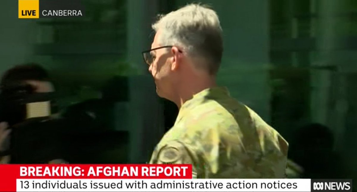 Chief of Army, Rick Burr, cuts and runs from his presser when the questioning turned to whether he and Angus Campbell should resign or face prosecution over #SAS #WarCrimes in Afghanistan.  #auspol https://t.co/LL38IOHJCu