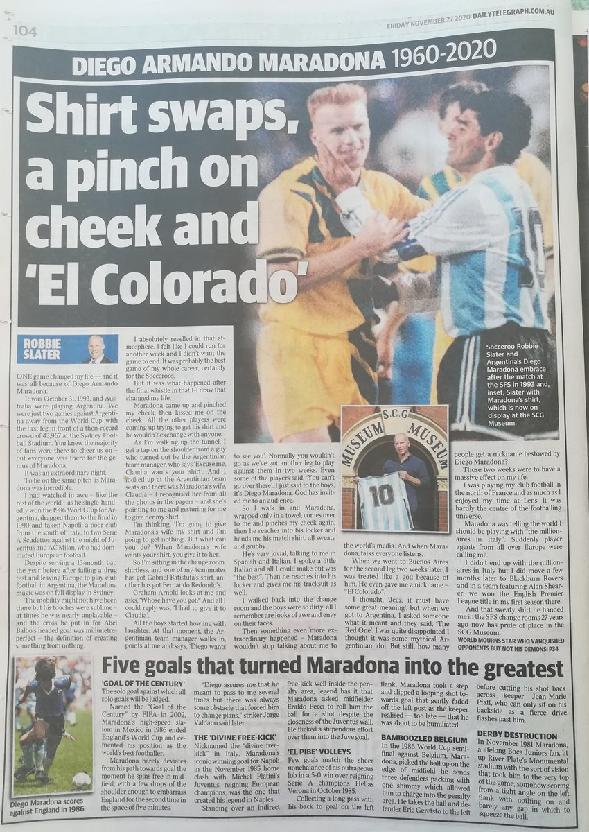 Some marvellous coverage in today's @dailytelegraph @RobbieSlater17 @DickinsonTimes on #DiegoMaradona death & recollections from his life inc that night in #Sydney @Socceroos vs #Argentina #WCQ (which I attended) - shame Diego's match shirt is at MCG rather football's own museum