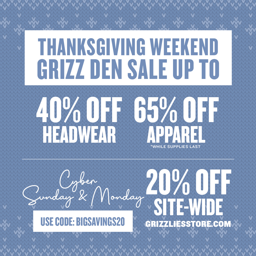 Stock up on your gear at the Grizz Den this weekend! 🕰️: 11am - 6pm.  Can't make it out? Shop the site with 20% off Sunday and Monday! 🔗 : https://t.co/5FlTBndhZm https://t.co/QiqqdIXwOZ