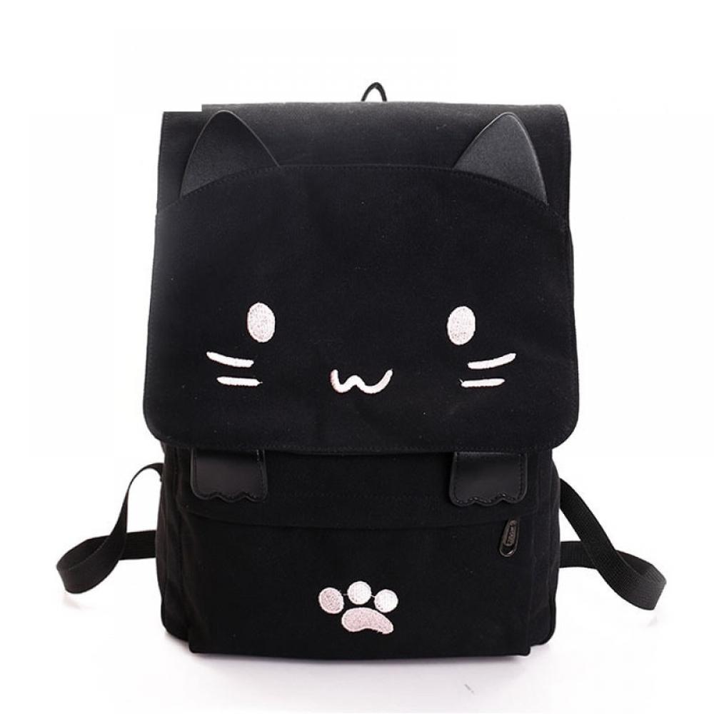 #food #tflers Women's Kawaii Cat Canvas Backpack