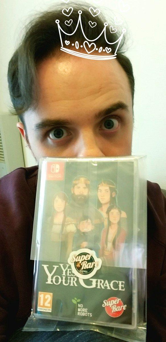 来たー!私と @BonusStageLoc が日本語ローカライズしたゲームを手に入れた!w 綺麗すぎて開けたいけど開けたくない、、 #game #indiegame #yesyourgrace #NintendoSwich @SuperRareGames @BraveAtNight @nomorerobotshq https://t.co/HnpI8M7sBV