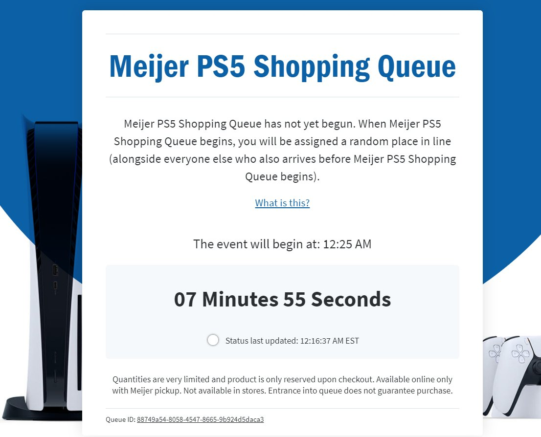 Just sitting here, waiting on @meijer  let me in to buy a #PlayStation5 , and stop moving the event time. (when it started it said 12:10am https://t.co/7lCefS3fkt
